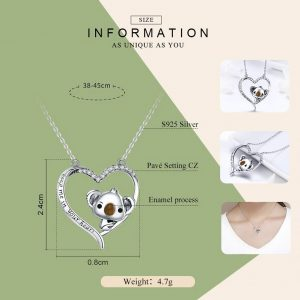Online Jewellery Shopping promise necklace for girlfriend - Koala inside Heart Necklace Jewellery 300x300 - Promise Pendants