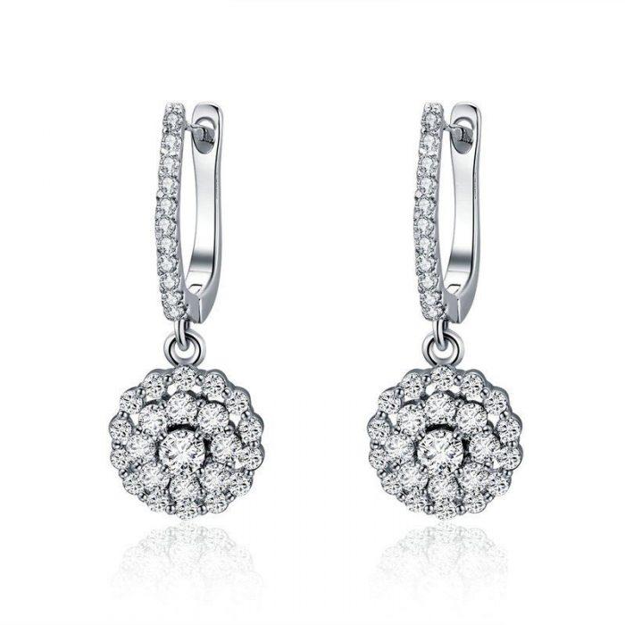 Shiny-Flower-Drop-Earrings