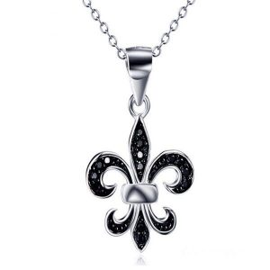 Jewellery Cyprus Limassol Nicosia Paphos Larnaca Ammochostos jewellery shop Chic Fleur De Lys Necklace with Black Cubic Zirconia