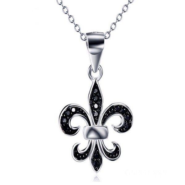 Jewellery Cyprus Limassol Nicosia Paphos Larnaca Ammochostos jewellery shop Chic Fleur De Lys Necklace with Black Cubic Zirconia