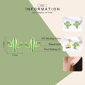 Sterling-Silver-Cactus-Stud-Earrings-with-Green-Cubic-Zirconia--Jewellery- online jewellery shop - Sterling Silver Cactus Stud Earrings with Green Cubic Zirconia Jewellery  300x300 - The best online jewellery shop