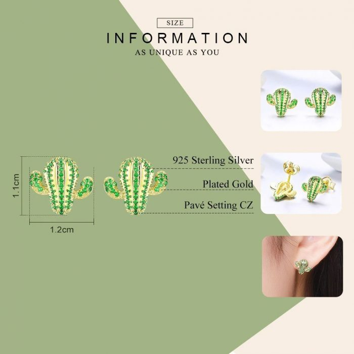 Sterling-Silver-Cactus-Stud-Earrings-with-Green-Cubic-Zirconia--Jewellery-