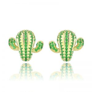 Cactus Earrings online jewellery shop - Sterling Silver Cactus Stud Earrings with Green Cubic Zirconia Jewelry  300x300 - The best online jewellery shop