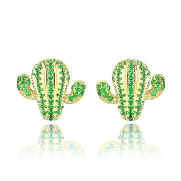 Cactus Earrings online jewellery shop - Sterling Silver Cactus Stud Earrings with Green Cubic Zirconia Jewelry  600x600 - The best online jewellery shop