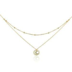 Sun n' Moon Double Layered Necklace online jewellery shop - Sun n Moon Double Layered Necklace 300x300 - The best online jewellery shop