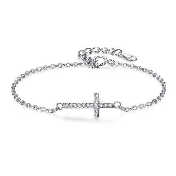 Silver-cross-bracelet