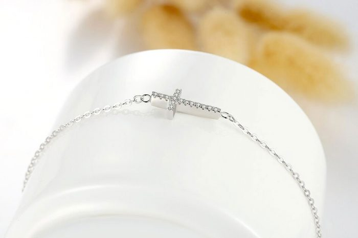 Silver cross bracelet azure chic jewellery