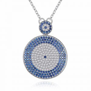 Majestic CZ Blue Evil Eye Necklace