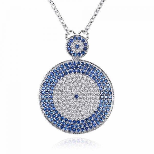Majestic CZ Blue Evil Eye Necklace