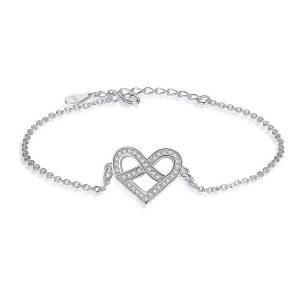 heart cubic zirconia silver bracelet