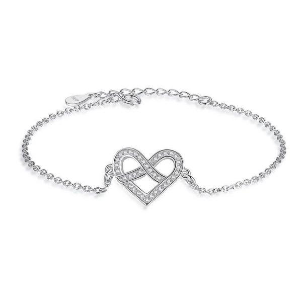 heart cubic zirconia silver bracelet bracelet with meaning - heart cubic zirconia silver bracelet 600x600 - Bracelets with Meaning