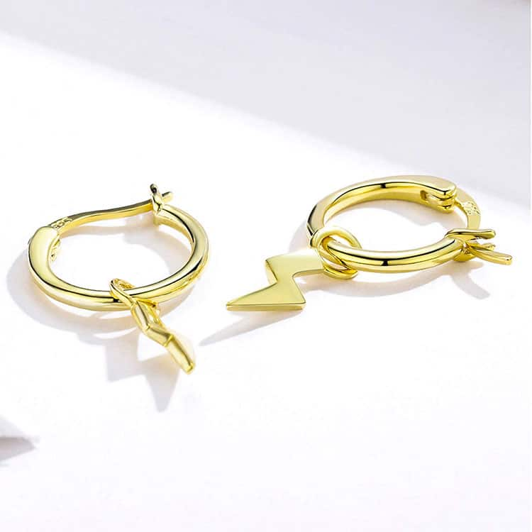 Gold Thunder Hoop Earrings