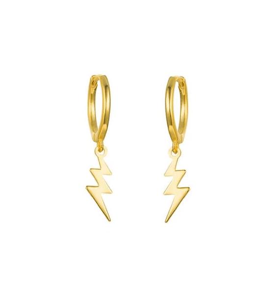 Gold Thunder Huggie Hoops stud earrings - Gold Thunder Huggie Hoops Azurechic Jewellery UK Cyprus 571x600 - Stud Earrings