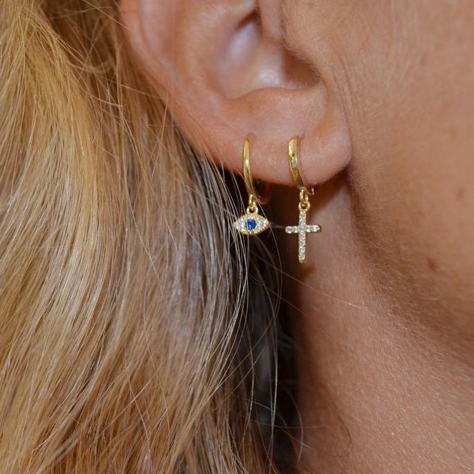 Gold cross hoops earrings