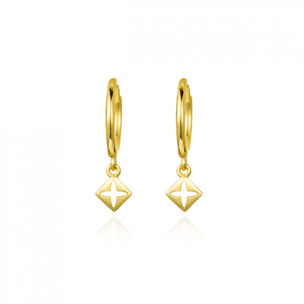 cross gold hoop earrings