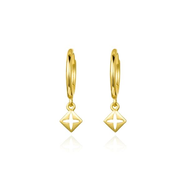 cross gold hoop earrings