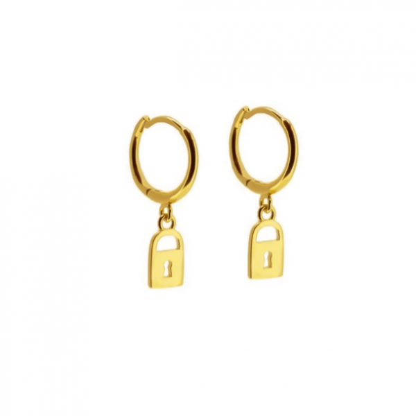 lock gold hoops padlock earrings