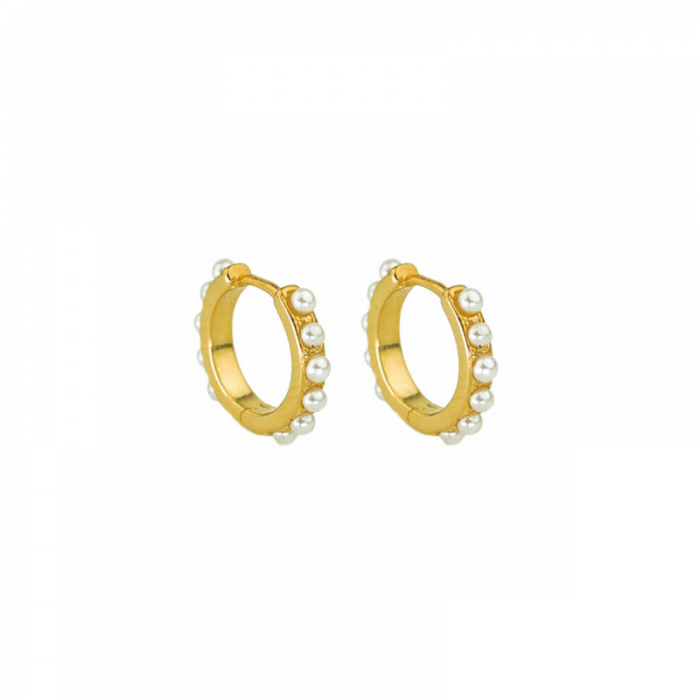 pearly gold hoops gold earrings