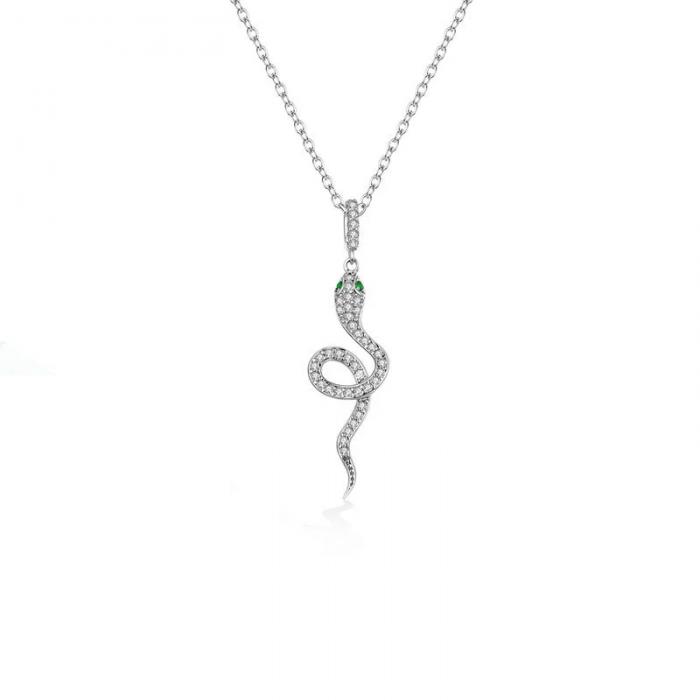 snake silver necklace