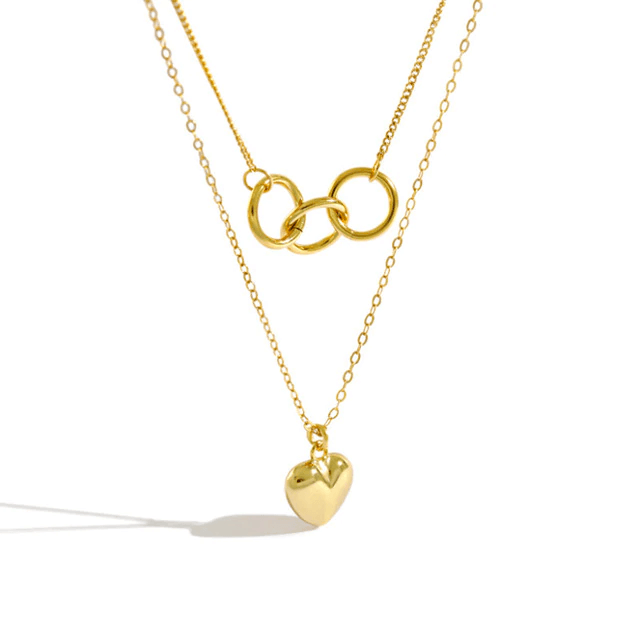 3 Lucky Rings Layering Heart Necklace