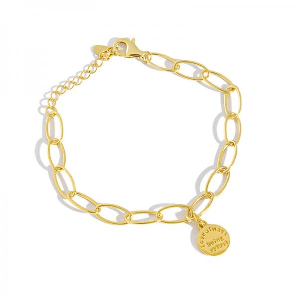 Azure Tag Charm Gold Bracelet
