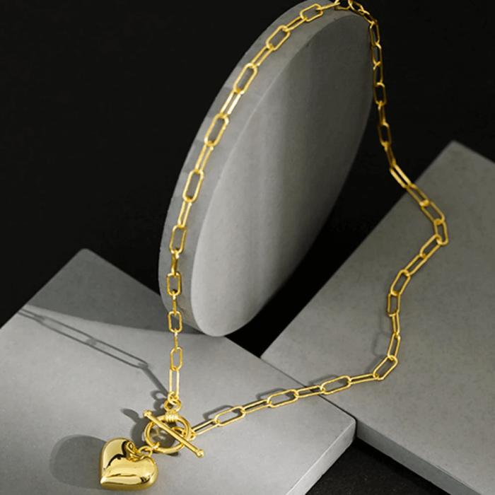 Azure Statement Heart Gold Chain Necklace