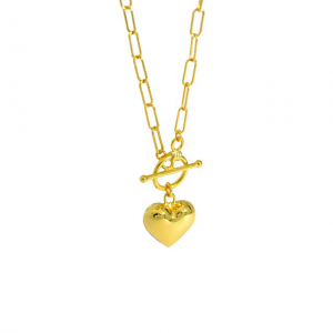 Azure Statement Heart Gold Necklace