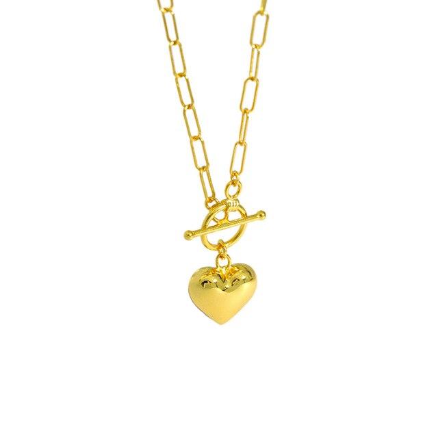 Azure Statement Heart Gold Necklace