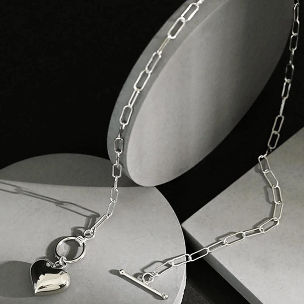 Azure Statement Heart Silver Chain NecklaceAzure Statement Heart Silver Chain Necklace
