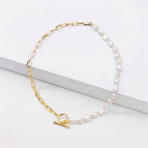 Half Pearl Necklace pearls and chain trendy necklace