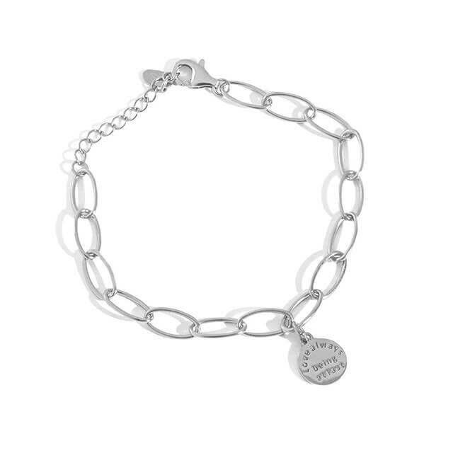 Tag Charm Silver Bracelet Azure Silver Chain Bracelet (1)
