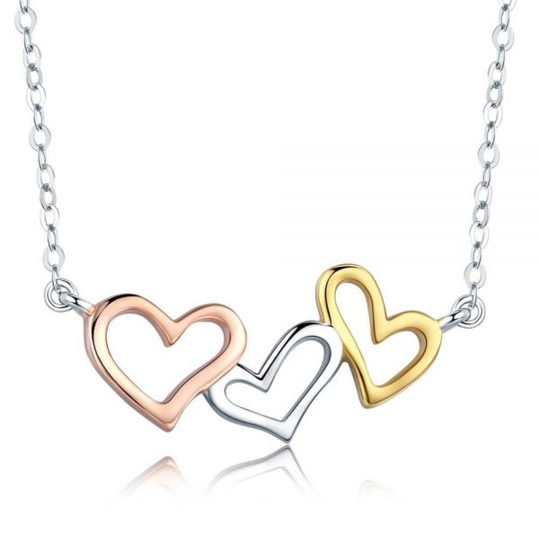 rose gold silver yellow gold heart neckalce (1)