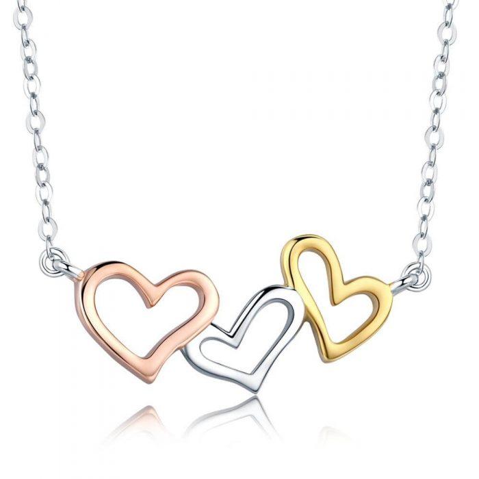 rose gold silver yellow gold heart neckalce (1)