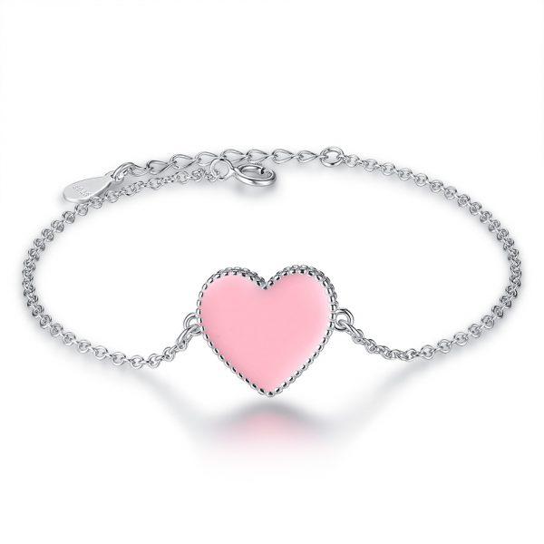Pink Heart Silver Bracelet