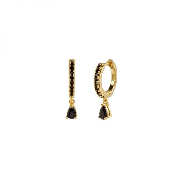 Atticus Black Gold Drop Earrings