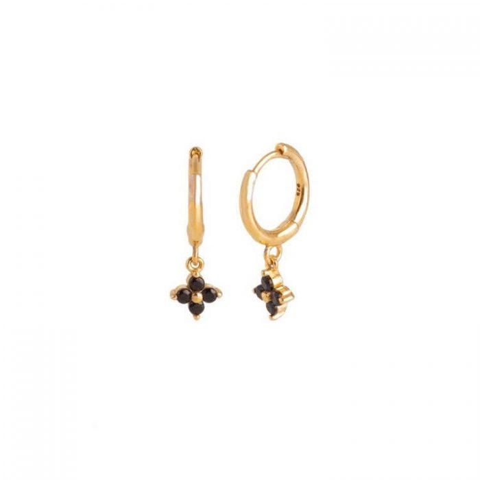 Nemesis Black Gold Huggie Earrings