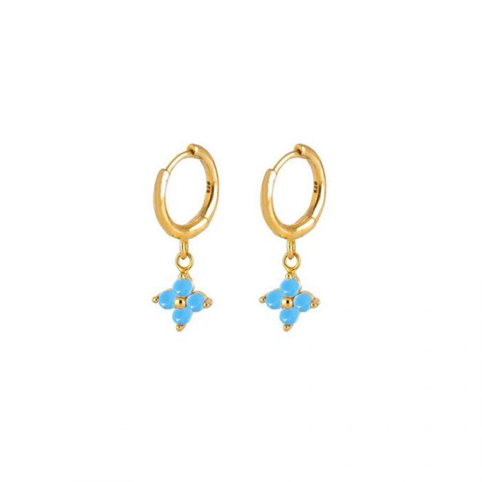 Nemesis Turquoise Gold Huggie Earrings