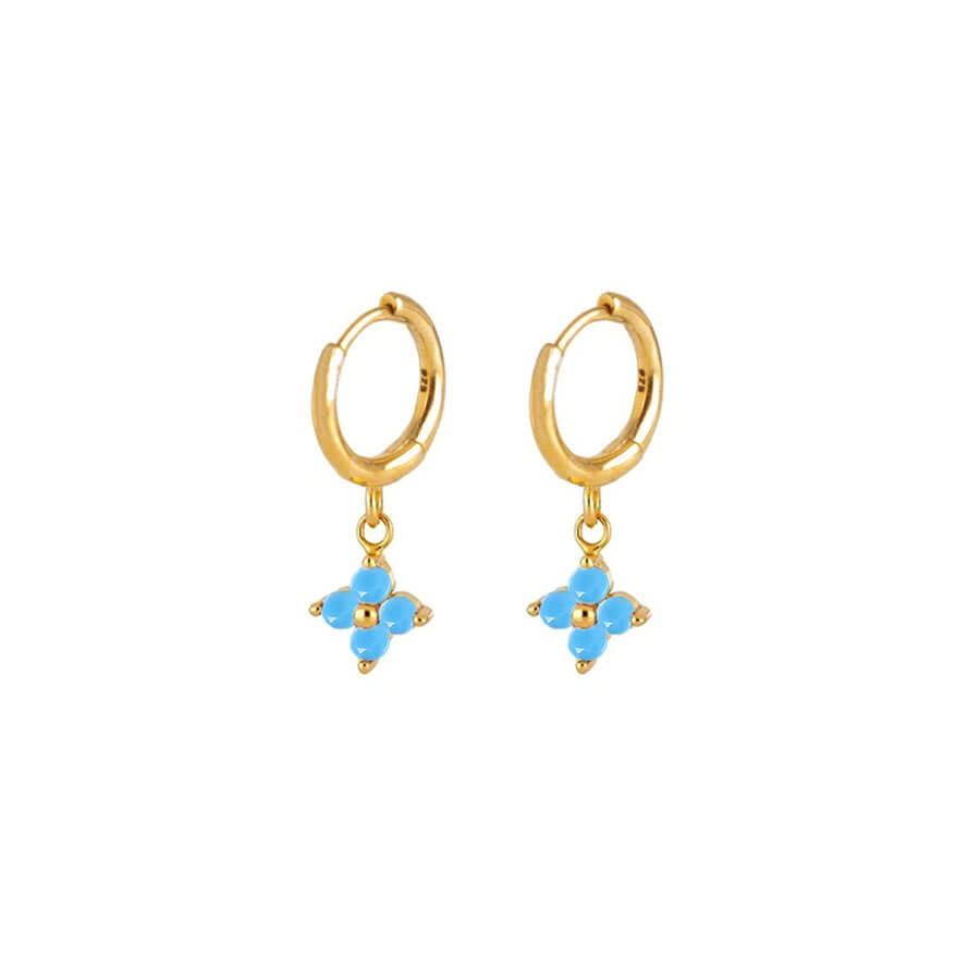 Nemesis Turquoise Gold Huggie Earrings