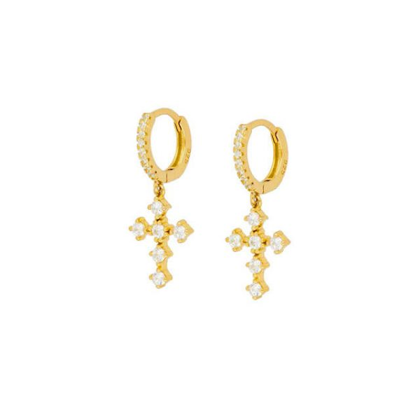 bohemian-gold-cross-hoop-earrings