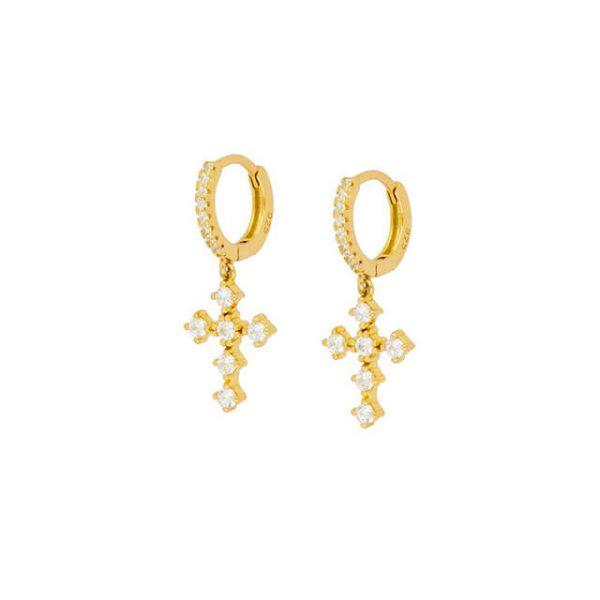 bohemian-gold-cross-hoop-earrings