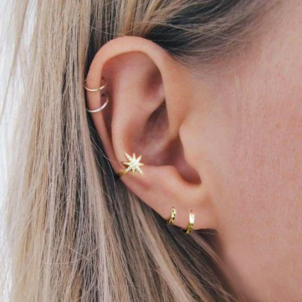 star-one-piece-clip-gold-earring
