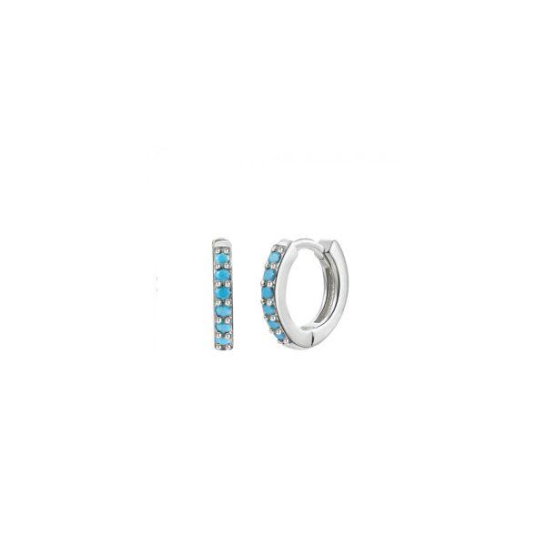 Mini Silver Turquoise Hoop Earrings